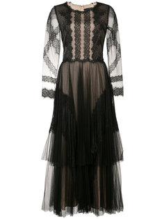 кружевное платье с вышивкой Marchesa Notte