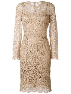 кружевное платье с цветочным узором Dolce & Gabbana