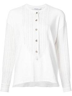 блузка без воротника в полоску  Derek Lam 10 Crosby
