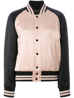 куртка-бомбер с контрастными полосками Saint Laurent