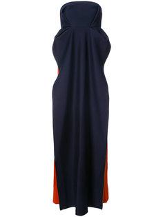 платье колор блок без бретелек Delpozo