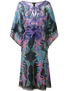 полупрозрачное платье с абстрактным принтом  Roberto Cavalli