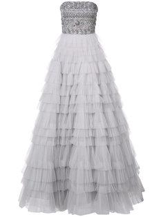 платье без бретелек с вышивкой  J. Mendel