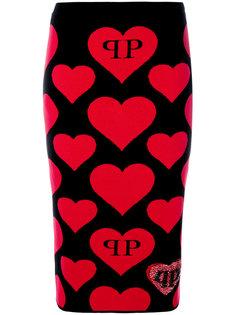 юбка миди с сердцами Philipp Plein