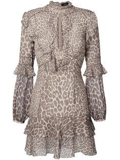 платье мини с леопардовым принтом и оборками  J. Mendel