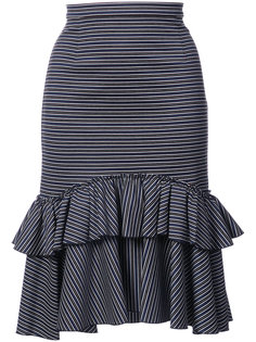 юбка в полоску с оборкой  Tome