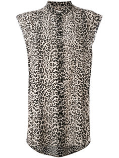 леопардовая рубашка без рукавов Saint Laurent