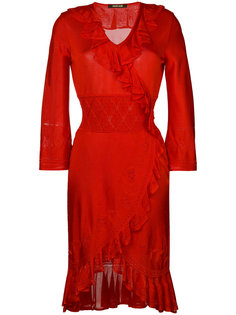 трикотажное платье с оборками Roberto Cavalli