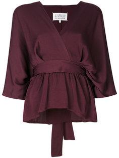 блузка с V-образной горловиной и завязкой на талии Maison Margiela
