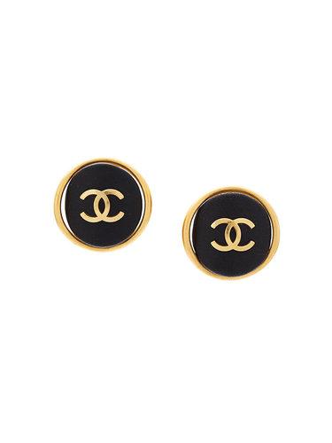 серьги-гвоздики с кожаными вставками и логотипом СС Chanel Vintage