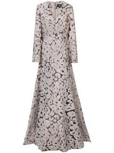 платье с леопардовым узором и V-образным вырезом  J. Mendel