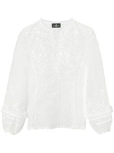 блузка с вышивкой цвета металлик  J. Mendel