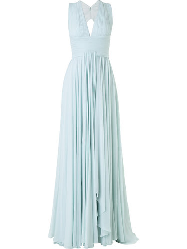 плиссированное вечернее платье с вырезом Zuhair Murad