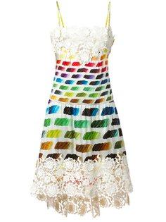 платье с вышивкой и радужным принтом Chanel Vintage