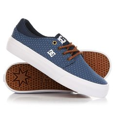 Кеды кроссовки низкие женские DC Shoes Trase Tx Se Blue/Brown/White