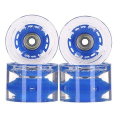 Колеса для скейтборда для лонгборда с подшипниками Sunset Conical Longboard Wheel Set With Abec9 Blue 78A 65 mm