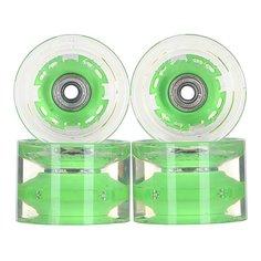 Колеса для скейтборда для лонгборда с подшипниками Sunset Conical Longboard Wheel Set With Abec9 Green 78A 65 mm