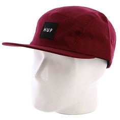Бейсболка пятипанелька Huf Core Box Logo Volley Maroon