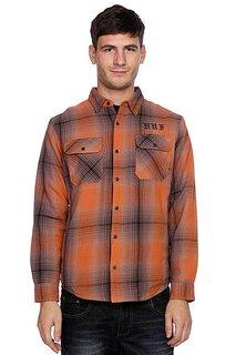 Рубашка утепленная Huf Alameda Quilted Premium Flannel Brown/Burnt Orange