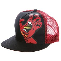 Бейсболка с сеткой Santa Cruz Screaming Hand Trucker Black/Red