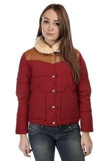 Пуховик женский Penfield Rockwool Leather Yoke Down Jacket Red
