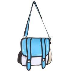 Сумка через плечо женская Jump from paper 2D Blue Bag White/Blue/Black
