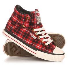 Кеды кроссовки высокие женские British Knights Dee Red/Black/Check