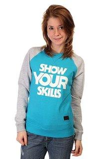 Толстовка свитшот женская Skills Show You Skills Crewneck Turquoise/Grey Melange