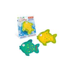 Мини-коврик для ванной комнаты Рыбки на присосках, 6 шт., VALIANT, бирюзовы/жёлтый