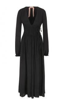 Приталенное платье-макси с V-образным вырезом No. 21