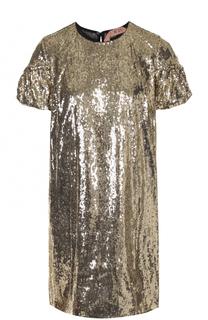 Мини-платье прямого кроя с пайетками No. 21