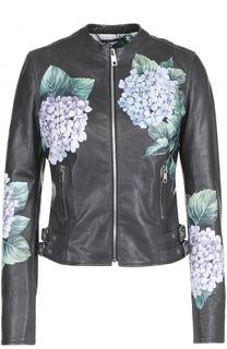 Приталенная кожаная куртка с цветочным принтом Dolce & Gabbana
