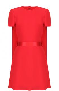 Мини-платье с кейпом и поясом Alexander McQueen