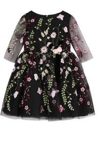 Мини-платье с цветочной вышивкой и декором David Charles