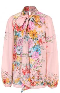 Шелковая блуза с цветочным принтом и воротником аскот No. 21