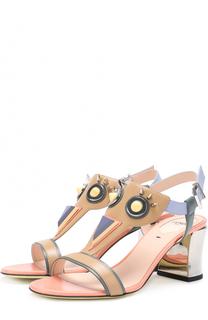 Кожаные босоножки с декоративной отделкой Fendi