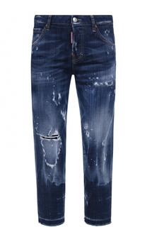 Укороченные джинсы с потертостями Dsquared2