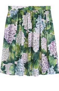 Хлопковая юбка с цветочным принтом Dolce & Gabbana