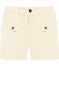 Хлопковые шорты с накладными карманами и контрастными пуговицами Gucci