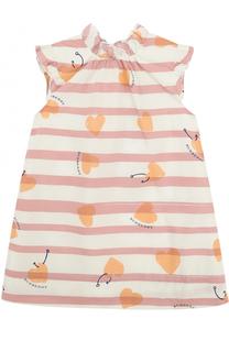 Хлопковое мини-платье А-силуэта с принтом и оборками Burberry
