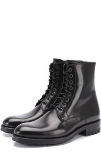 Высокие кожаные ботинки на шнуровке Brioni