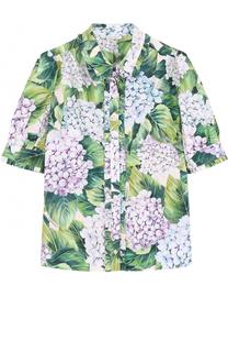 Хлопковая блуза с цветочным принтом и оборками Dolce & Gabbana