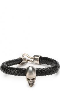 Плетеный кожаный браслет с черепом Alexander McQueen