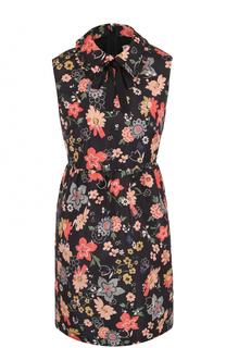 Мини-платье с завышенной талией и цветочным принтом REDVALENTINO