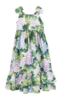Хлопковый сарафан с цветочным принтом и оборками Dolce & Gabbana