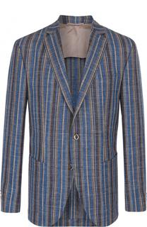 однобортный пиджак из смеси шерсти и льна с шелком Baldessarini