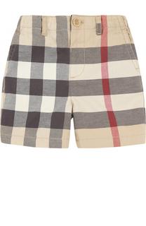 Хлопковые шорты с принтом и эластичной вставкой на поясе Burberry
