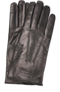 Кожаные перчатки с подкладкой из шерсти Armani Collezioni