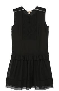 Приталенное мини-платье с кружевной вставкой Burberry