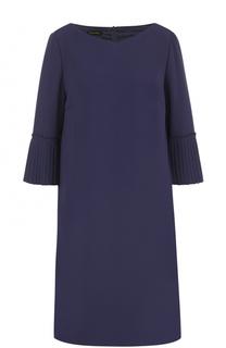 Мини-платье с укороченными плиссированными рукавами Escada